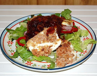 Fried Halloumi with Redcurrant Sauce