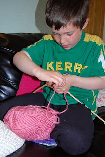 Sam knitting