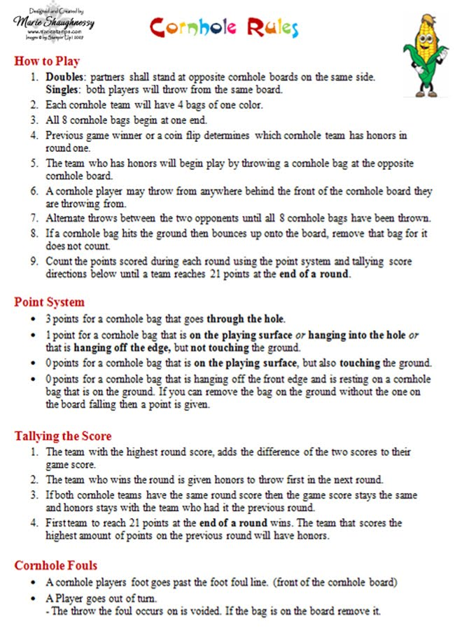 photograph about Printable Cornhole Rules known as Stamping Drive: COLLEEN HUBBYS CORNHOLE Sport