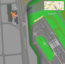 TAM Airlines Flight 3054 overshooting runway map