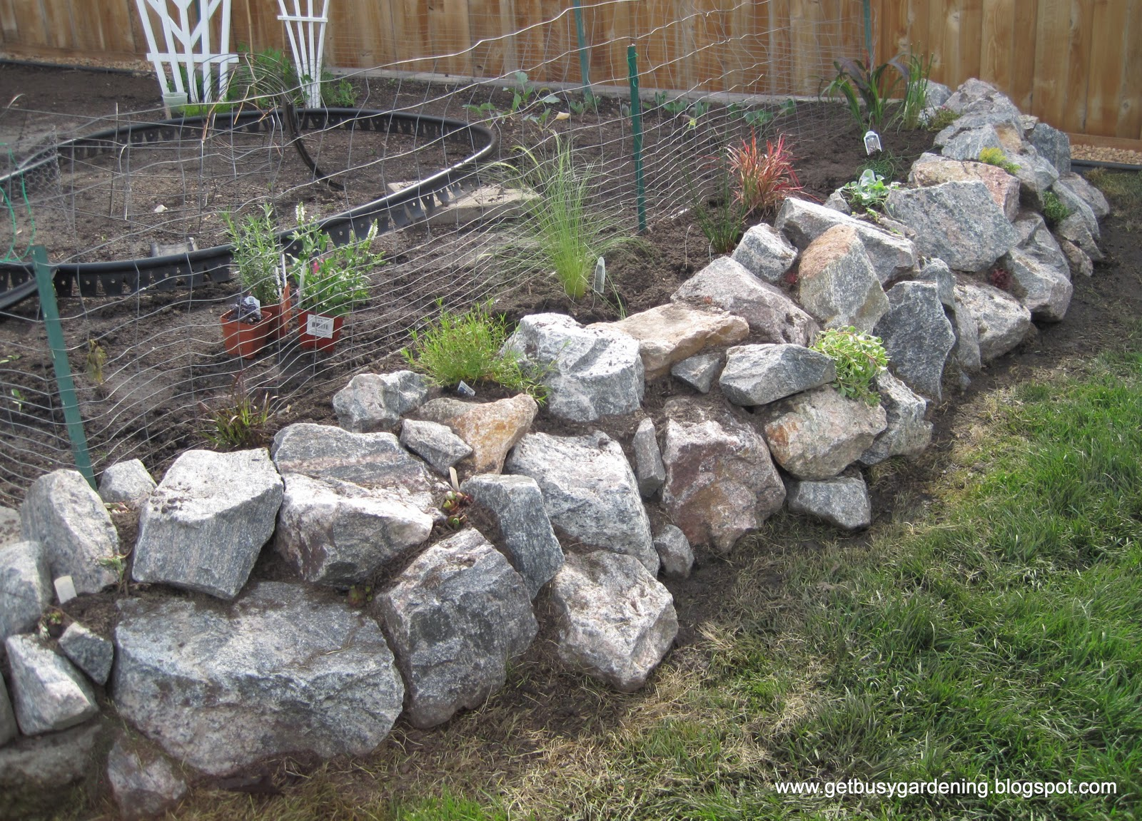 Genial Rock Wall Done And Planted