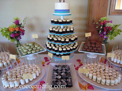 Our round cupcake tower served as the centerpiece for the buffet