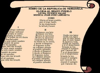 Historia de la bandera y el escudo de venezuela con el himno