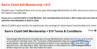 Discover Redeem Reward Sam's Club Membership Terms and Conditions highlighting Gift Card can be used at Walmart