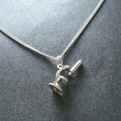 silver microscope necklace