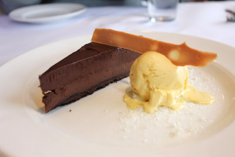 Mocha tart with cardamom ice cream