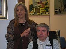 JUANA FERRER galerista de la galeria EL TEMPLE,(mallorca) junto A PACO