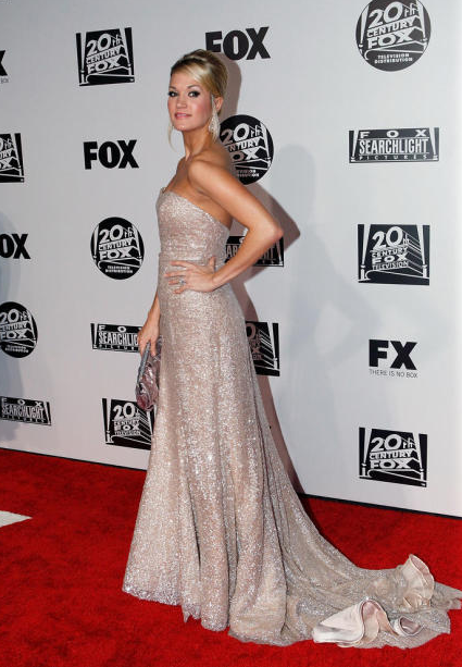 carrie underwood golden globes dress. Carrie Underwood in Badgley