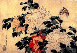 Árbol de peonías y mariposa