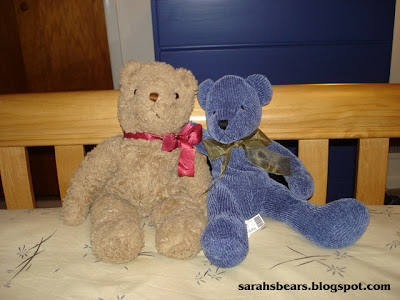 Teddy Bears Sitting on Bed