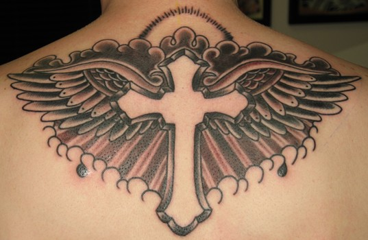 cross tattoo with banner