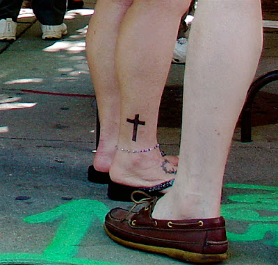 small cross tattoos women