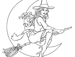 Halloween Witch Cat Coloring Pages Printable
