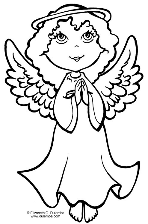christmas angels coloring pages - free printable christmas angel colouring pages