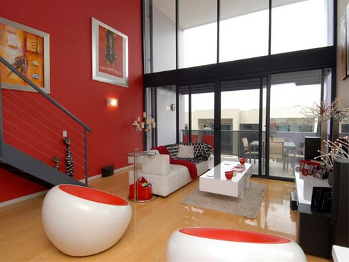 Black and Red Living Room Interior Design