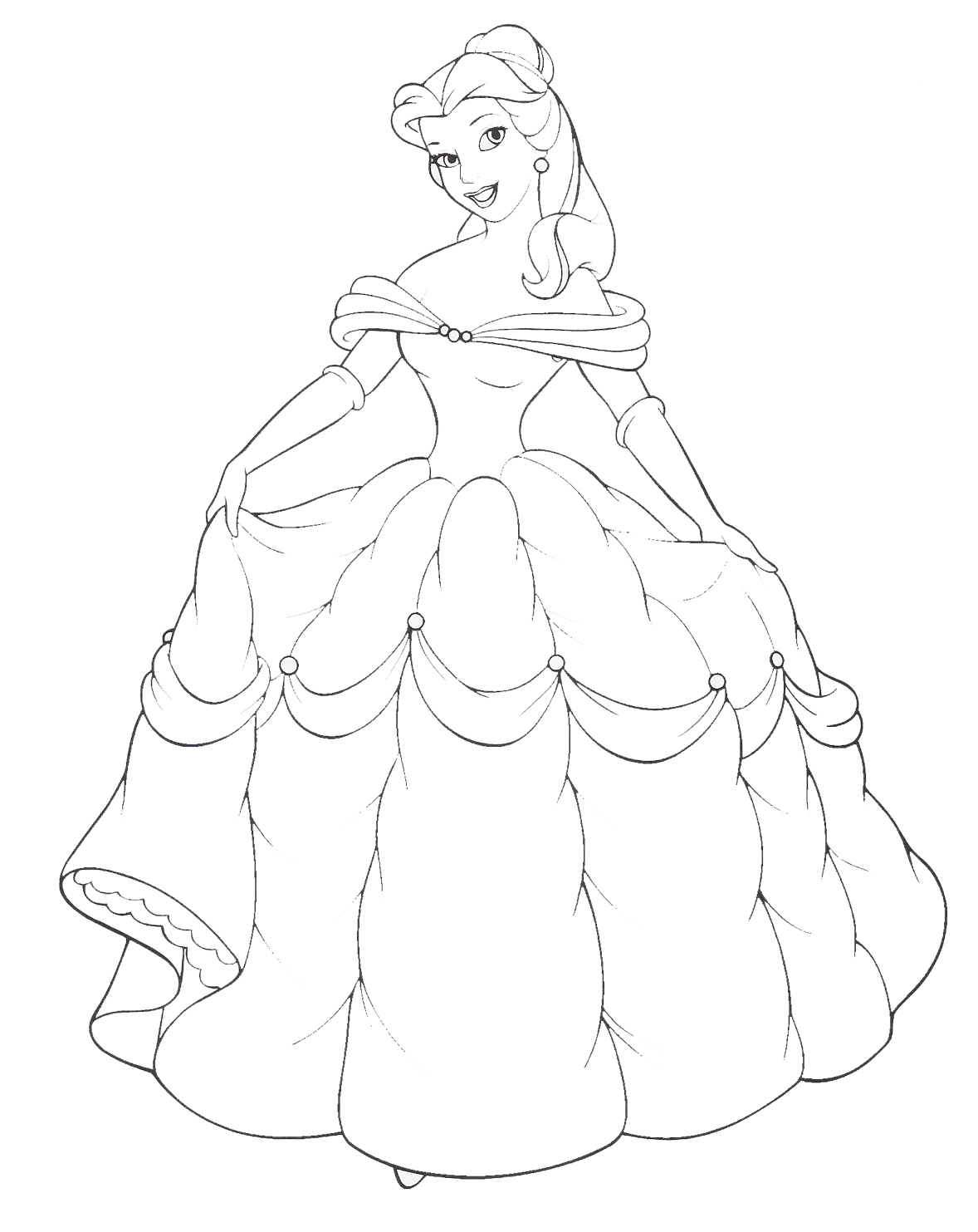 Coloring Book Pages Princess : Disney princess belle and her gown coloring sheet