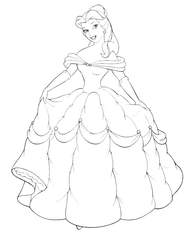Disney Princess Belle and Her Gown Coloring Sheet title=