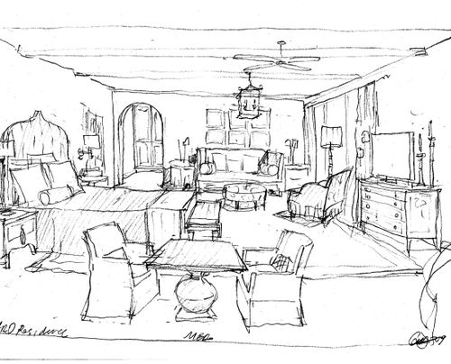 Interior design bedroom sketches for ideas for Interior design layout drawing