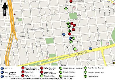 Mapa das compras em Santiago do Chile