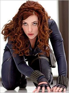 Black Widow in black leather
