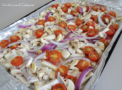 Roasted Vegetable, Feta Cheese, and Fresh Basil Pizza
