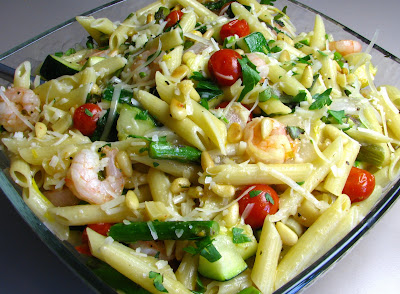 Penne with Shrimp and Roasted Vegetables in a Roasted Garlic Lemon Sauce