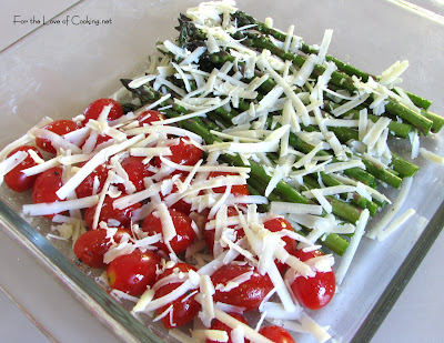 Roasted Asparagus and Grape Tomatoes with Asiago Cheese