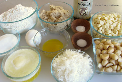 White Chocolate, Macadamia Nut and Coconut Cookies