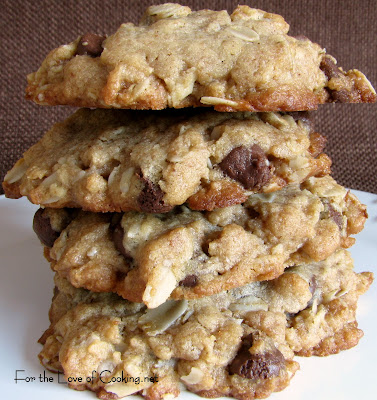 Peanut Butter, Oatmeal, and Chocolate Chip Cookies