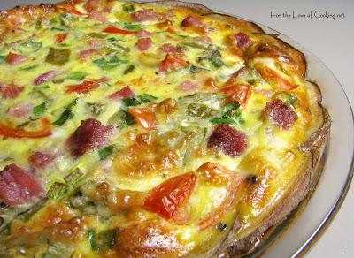 Green Chile and Ham Quiche with a Potato Crust