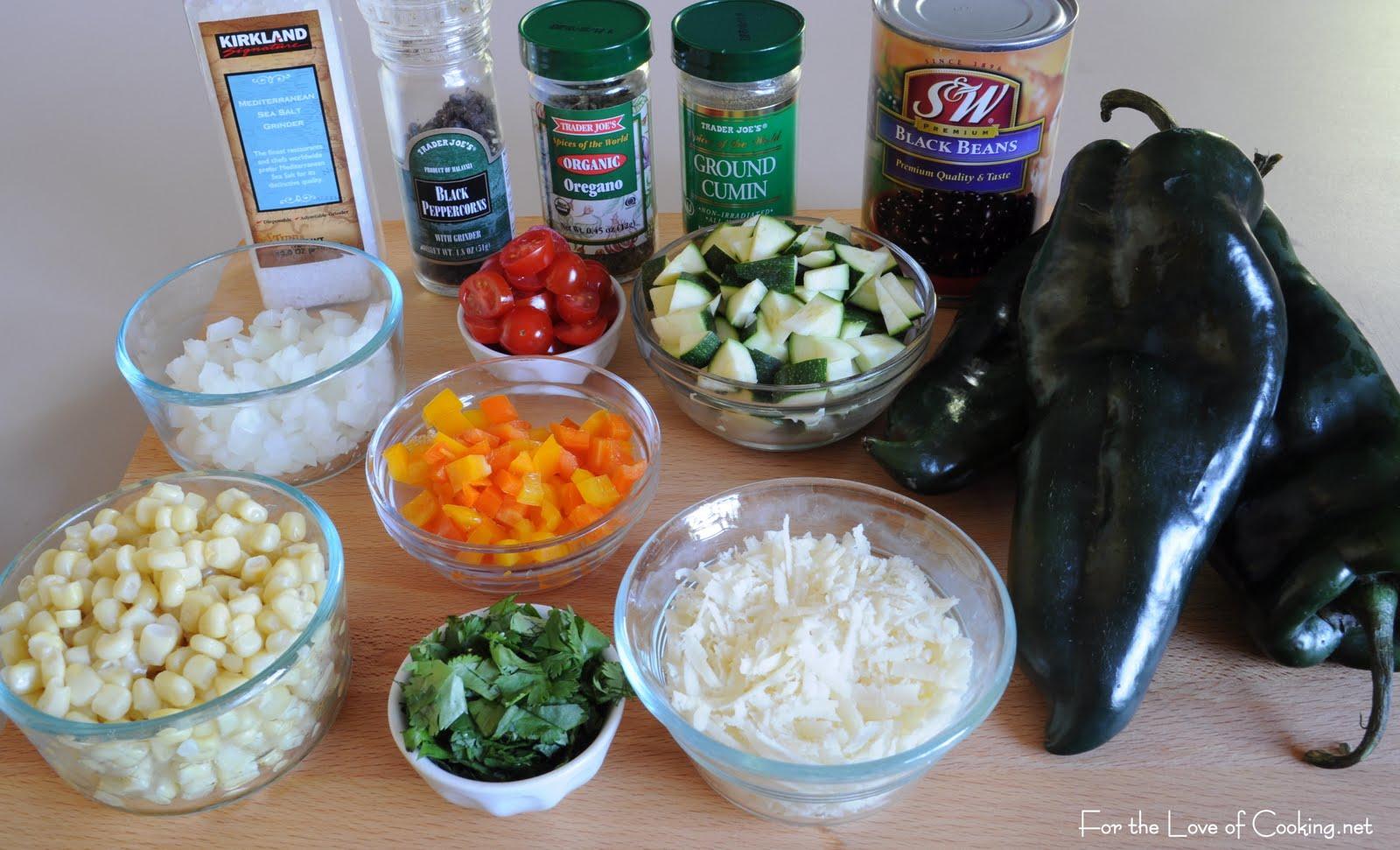 Combine the black beans, bell pepper, onion, cilantro, zucchini, corn ...