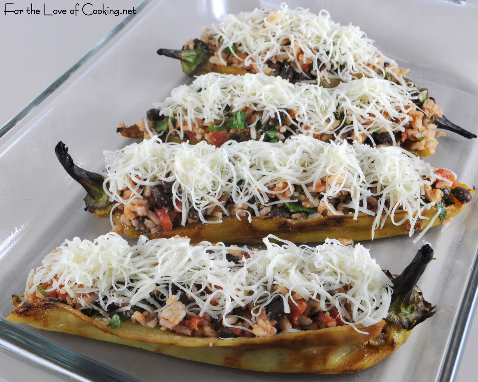 Stuffed Anaheim Peppers with Mexican Rice & Beans, Jack Cheese ...