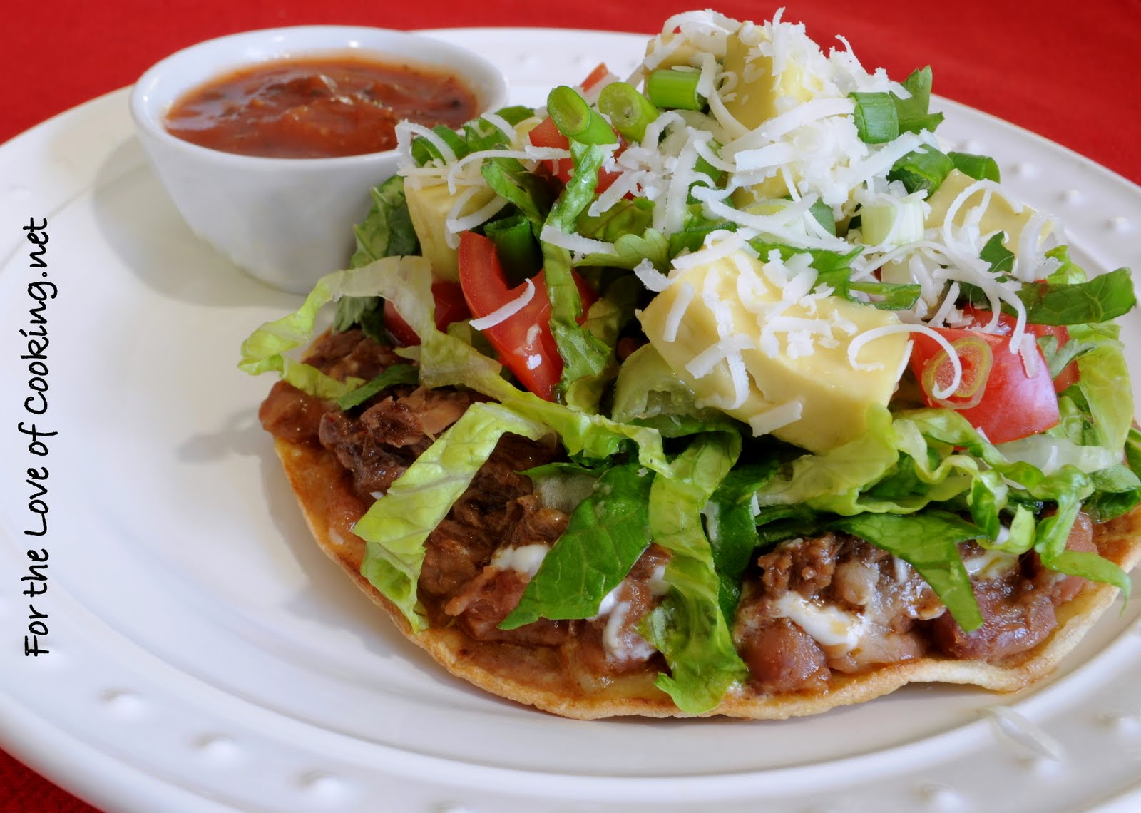Shredded Beef and Avocado Tostada | For the Love of Cooking