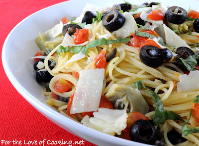 Angel Hair Pasta with Artichokes, Olives, Tomatoes, and Capers