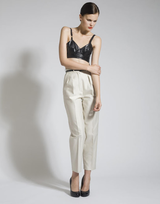 Embossed Leather Bra, Cotton Trousers