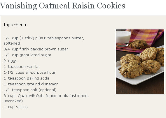 Homemade quaker oatmeal cookies recipe
