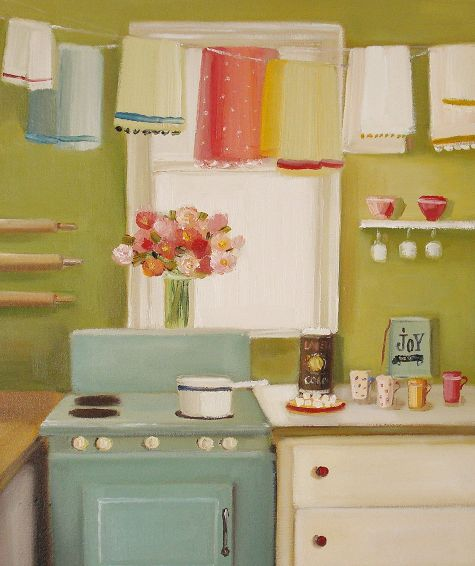 Vintage kitchen painting by janet hill content in a cottage for Retro kitchen paint colors