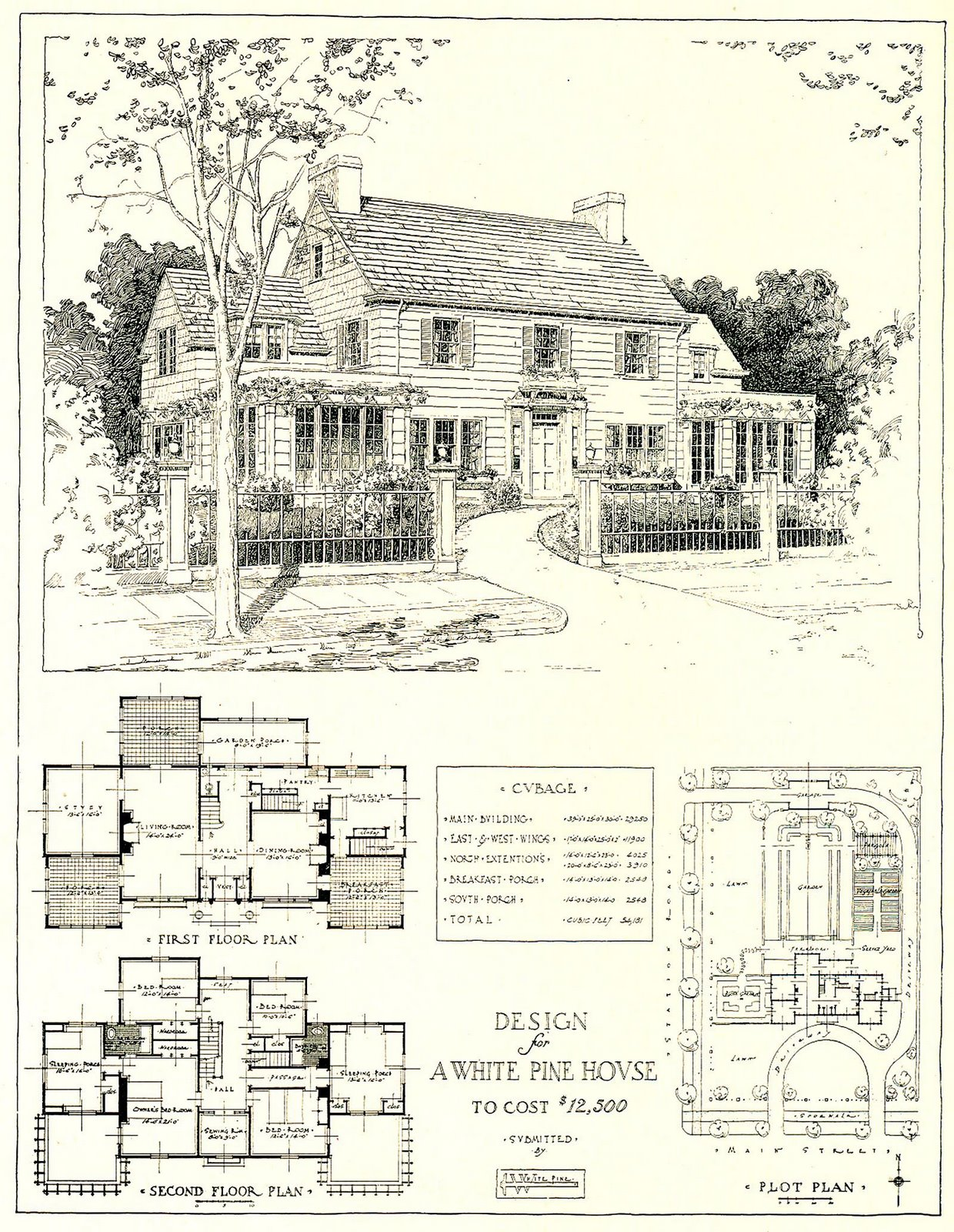 1917 Architectural Design For A 12 500 House Content In