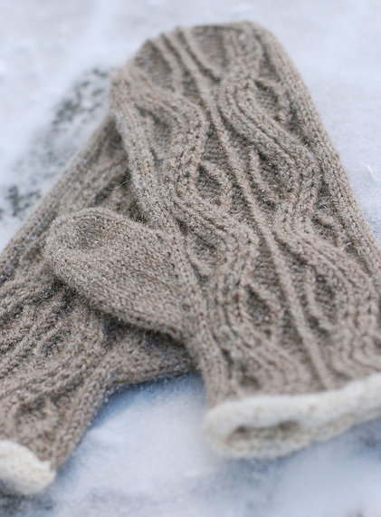 Alpaca Cable Knit Mittens Content in a Cottage