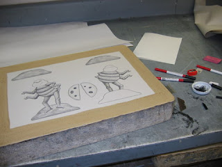 Litho stone with birthday bug paper doll drawing