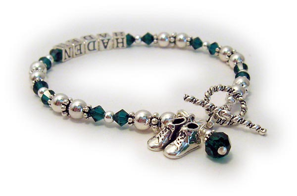 Gallery emerald mothers bracelet with haden amp baby boy bootie charm