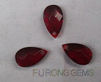 Red Glass Crystal Gemstones Pear Drop Cut