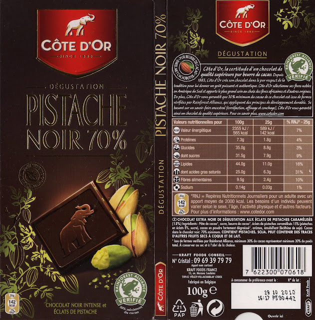 tablette de chocolat noir gourmand côte d'or pistache noir 70