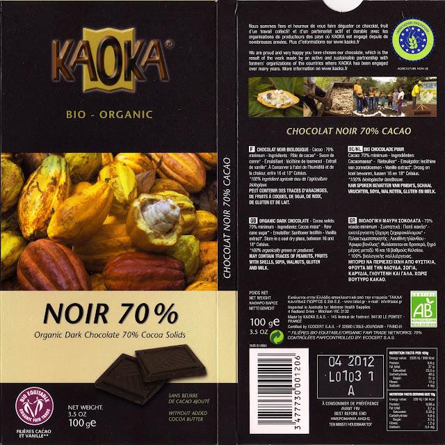 tablette de chocolat noir dégustation kaoka bio organic noir 70