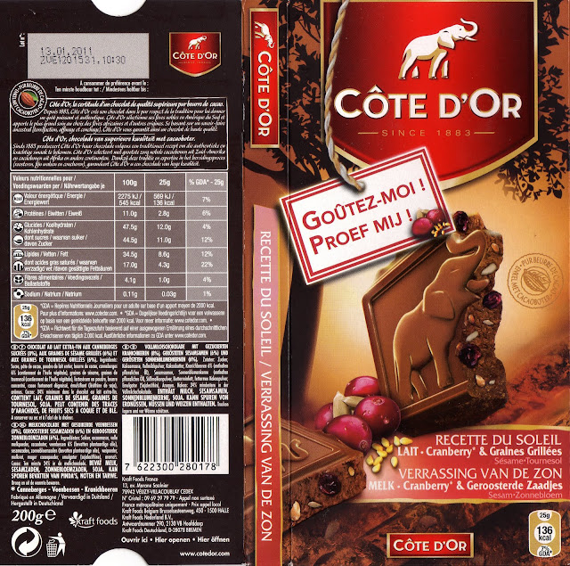 tablette de chocolat lait gourmand côte d'or cranberry & graines grillées