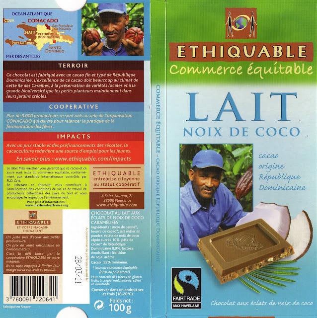 tablette de chocolat lait gourmand ethiquable république dominicaine lait noix de coco
