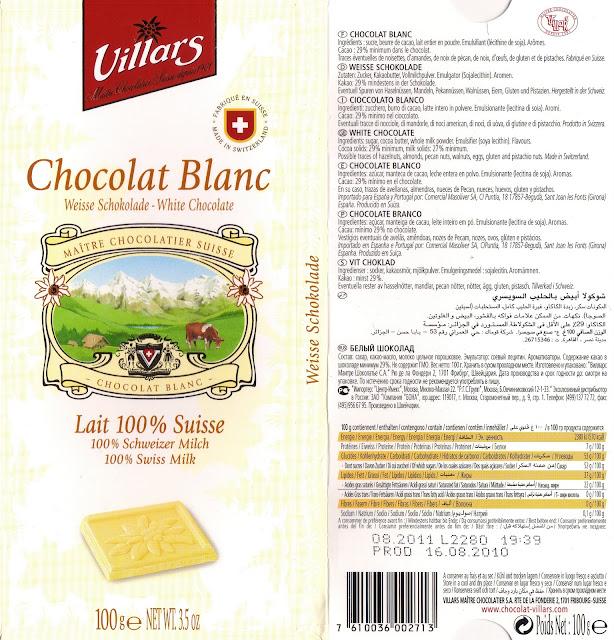 tablette de chocolat blanc dégustation villars blanc lait suisse 100