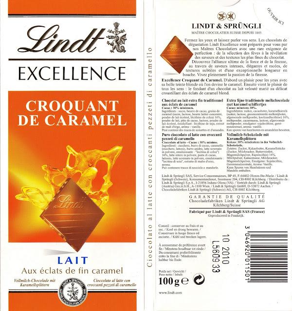 tablette de chocolat lait gourmand lindt excellence croquant de caramel