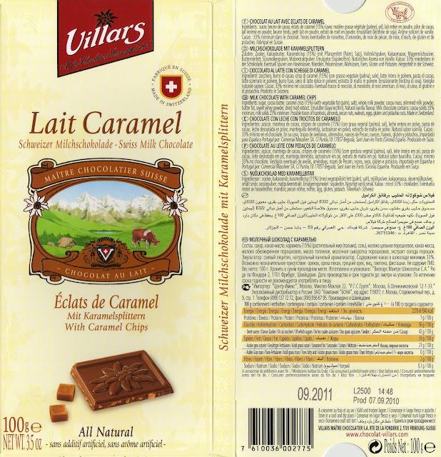 tablette de chocolat lait gourmand villars lait eclats de caramel