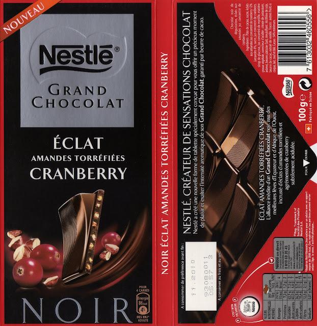 tablette de chocolat noir gourmand nestlé grand chocolat eclat amandes torréfiées cranberry